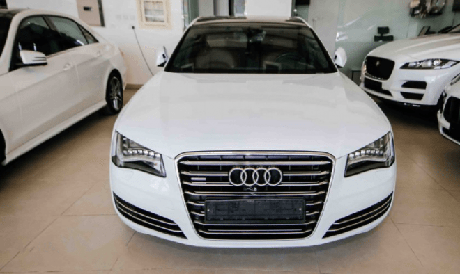 2014 White Audi A8 L 50 TFSI Quattro available for sale in Abu Dhabi.