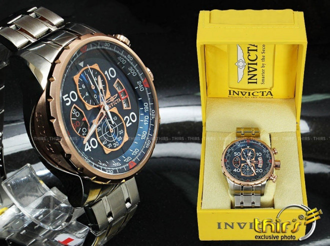 Invicta 17203 AVIATOR Stainless Steel and 18k Rose Gold Ion Plated Watch  for Men