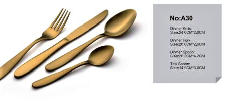 DUBAI HOTEL SUPPLY OF STAINLESS STEEL RUST GOLD CUTLERY