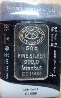 50 gram Fine Silver pure Turkish Silver.