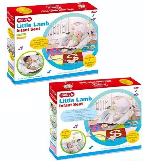 Baby bouncer rocker with 5 music and vibration - White Little Lamb Infant Seat