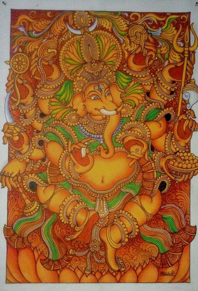 Kerala Mural Painting Ganesha Original Hand Acrylic On Canvas