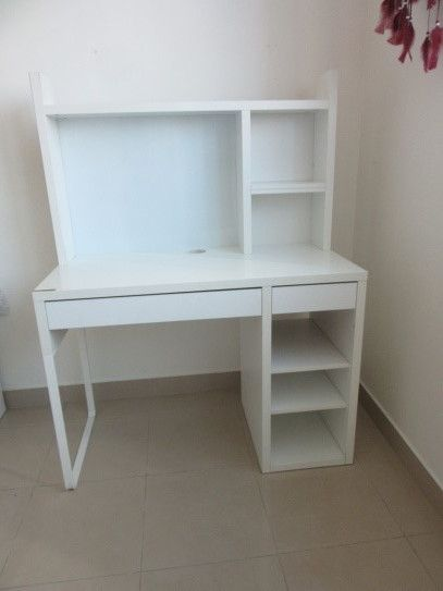 work desk, white, shelves, magnetic board with free chair