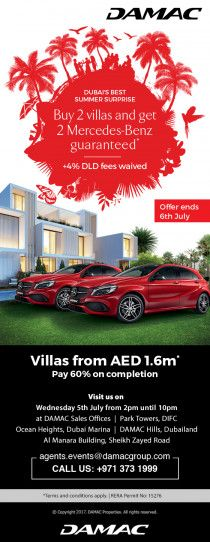 Buy your own villa and pay 60% after receiving and win 1 kg of gold or Mercedes