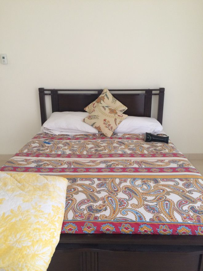 Queen-sized wooden bed frame with mattress, hardly used for sale in ...