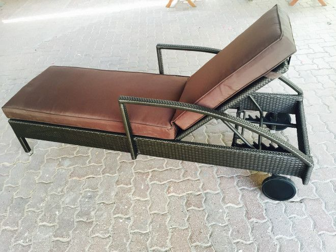 Teak & wickers sun loungers , garden shed & table set for sale in Dubai