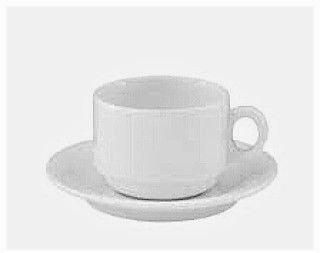 Dubai Hotel Supply - Stackable Ceramic Tea Cup & Saucer with Thick Handle