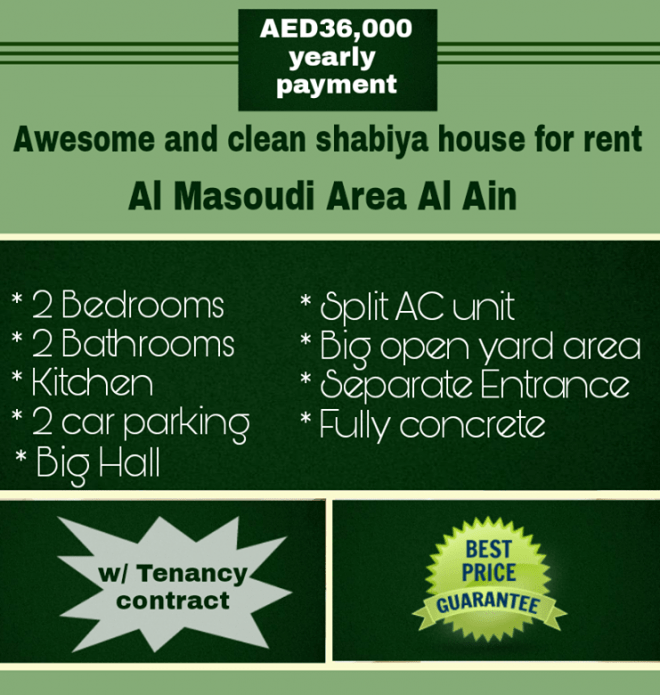 Awesome, spacious and clean Shabiya House for rent Located at Al Masoudi AL ain