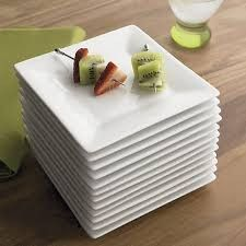 Ceramic Square Platter with Sharp Curve Available In Dubai -  For Hotels/Cafe
