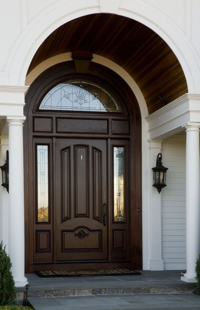 Outdoor Wooden Door for Villa Custom Made with Glass and Metal in Abu Dhabi