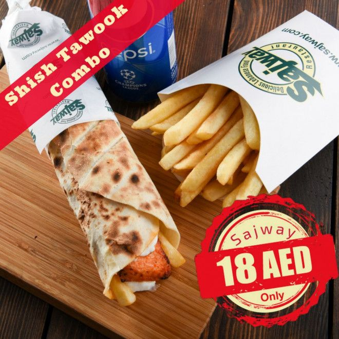 Shish Taouk Combo for only AED 18 at Sajway Abu Dhabi