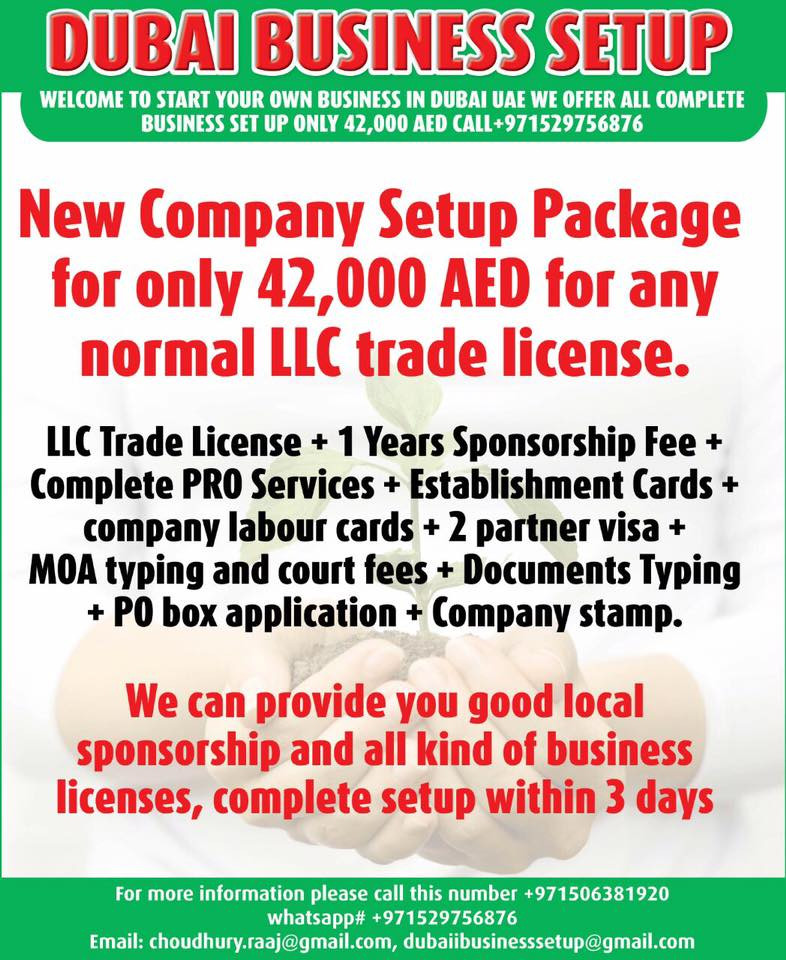 We have special offers in Dubai- UAE for ; New Company Setup Package for only 42,000 AED