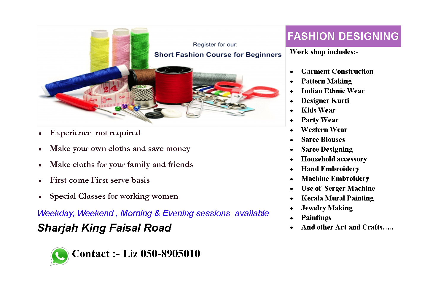 Fashion Designing Course, Sewing Course