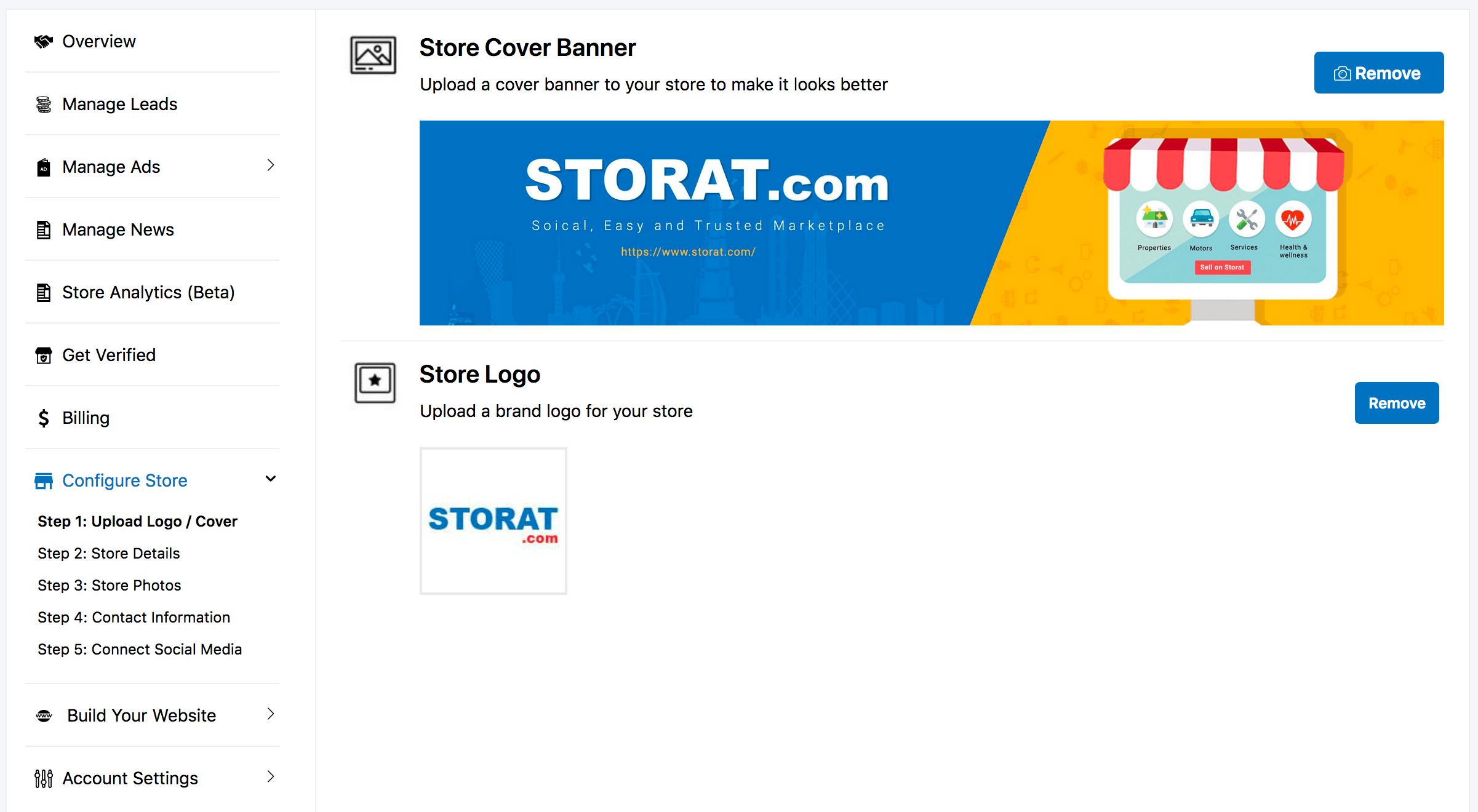 Configure Store at Storat.com