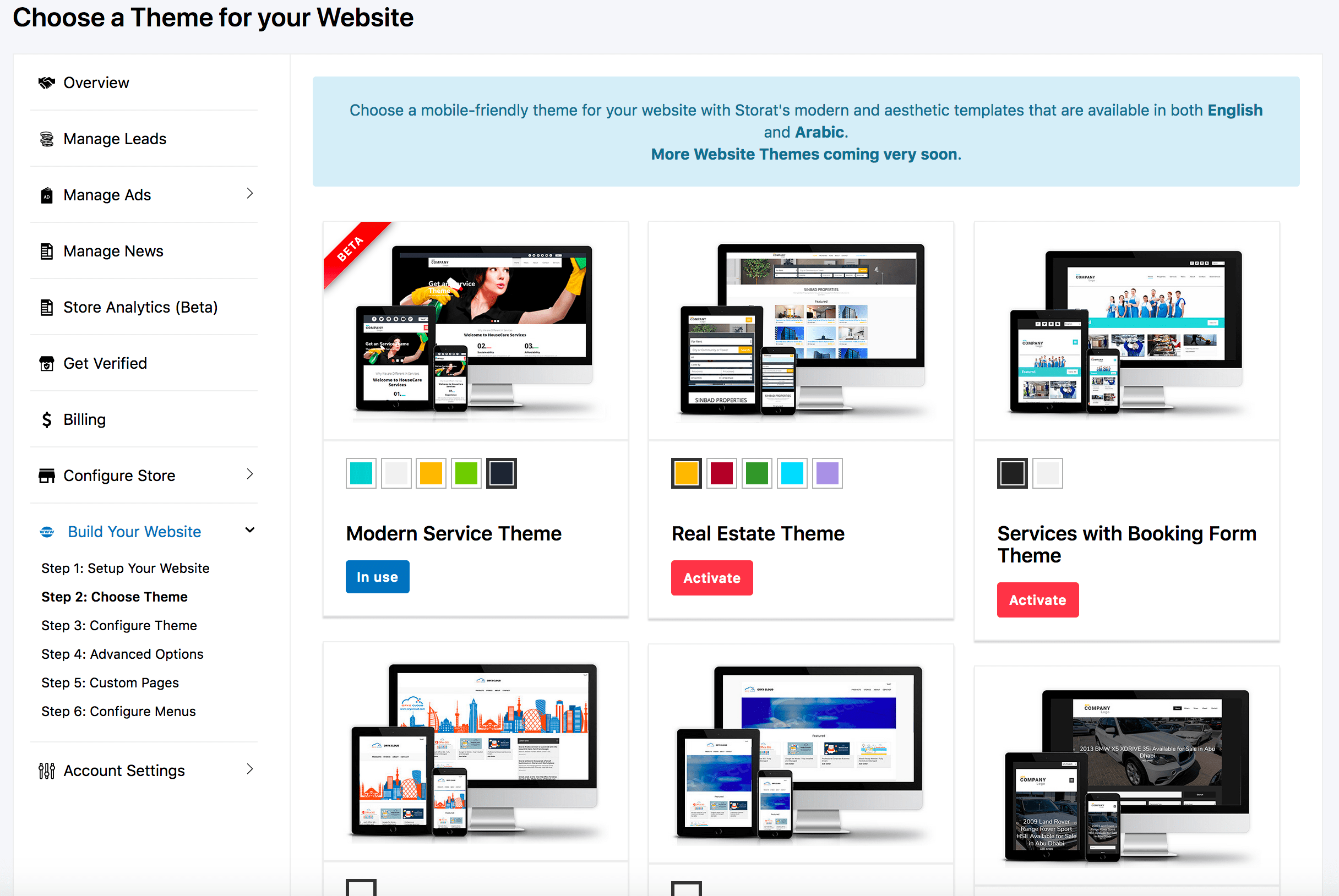 Choose website Theme